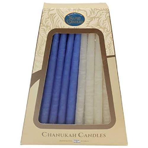Hanukkah Candles - by Safed Candles, Handcrafted in Israel, Box of 45 - Fits Most Menorahs - Classic, Kosher, Dripless, Wax, for Chanukah (Half White and Half Blue)