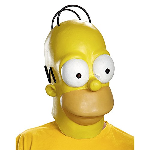 Disguise Men's Homer Adult Costume Mask, Yellow, One Size (Zombie Cartoon Characters)