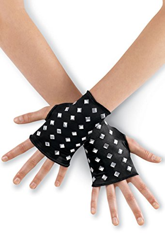 [Urban Groove Costume Fingerless Gloves with Silver Stud Accents Black SMC] (Holiday Recital Costumes)