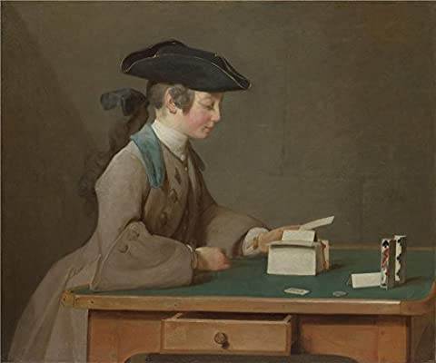 'Jean Simeon Chardin The House Of Cards ' Oil Painting, 16 X 19 Inch / 41 X 49 Cm ,printed On High Quality Polyster Canvas ,this Amazing Art Decorative Canvas Prints Is Perfectly Suitalbe For Powder Room Decoration And Home Artwork And - Satin Covered Card Box