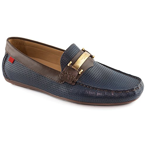 Mens Genuine Leather Made In Brazil Bryant Park Navy Perforated MJ Bit Loafer - Stores Park Bryant