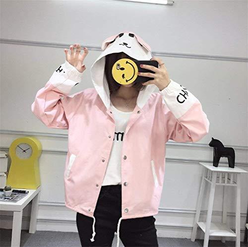 Di Con Digitale College Mode Rosa Facile Lunga Donna Stile Ragazze Manica Colori Outerwear Cappuccio Relaxed Bolawoo Misti Autunno Giacche Libero Bomber Marca Stampate Dolce Giacca Tempo wYqfn5vC
