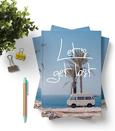 42thinx Notizbuch Let's Get Lost DIN A5 blanko I Notizblock mit Hardcover 128 Seiten mit Designcover I Hochwertiges Journal Notebook mit Lesezeichen I Notizblock gebunden Motiv