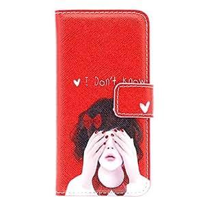 Conseguir Muchacha linda con el bowknot PU del patrón de caso completo de Body con cierre magnético para el iPhone 5/5S