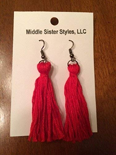 Amazon Com Tassel Earrings Dangle Embroidery Thread Pink Fringe