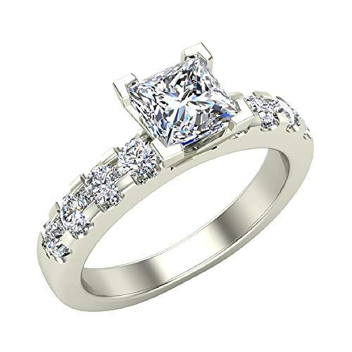 1.00 Carat Princess Cut 14K White Gold Solitaire Diamond Engagement Ring 0.50 ct J-K Color I1 Clarity -Center Diamond (Ring Size 6)
