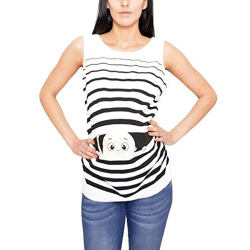 SAYEI Women's Top Cartoon Print Baby Maternity Round Neck Sleeveless Top Vest Casual -