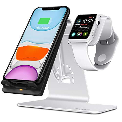 Bestand Qi Wireless Charger, 2 in 1 Cell phone Charging Stand & Watch Station Compatible with iWatch/iPhoneX/XS/XS Max/XR/8/8 plus/Samsung Galaxy S10/S9/S9+, Silver