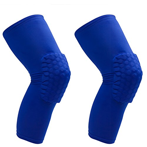 O-Best 2 Packs (1 Pair) Protective Compression Wear Breathable Honeycomb Knee Pads Crashproof Antislip Basketball Leg Knee Sleeve Protector Gear (Blue, Medium) (Leg Protector)