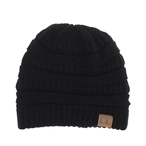 (YourStyle USA Trendy Warm Chunky Soft Stretch Cable Knit Slouchy Beanie (One Size, Black))