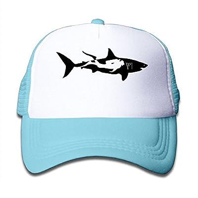 Shark Diver Diving Man Boys and Girl Snapback Mesh Baseball Hat Youth Size Cap