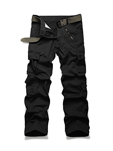 Men's Casual Military Pants, Cotton Camo Tactical Wild Combat Cargo Trousers with 8 Pockets Black Tag 38-US 36