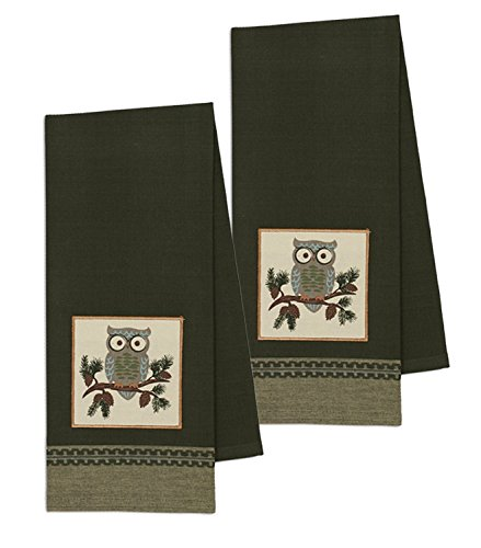 (Design Imports Mountain Pine Cotton Table Linens, Dishtowel 18-Inch by 28-Inch, Set of 2, Cascade Owl Embellished)