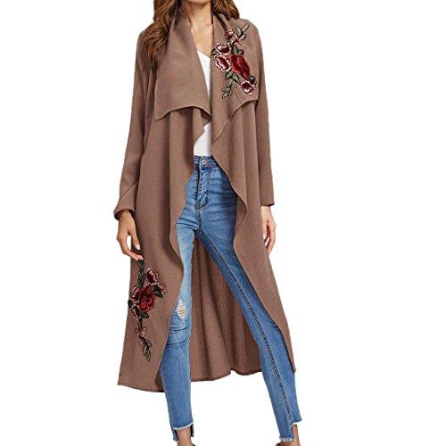 Kimloog Women Long Sleeve Floral Applique Open Front Cardigan Jacket Long Trench Outwear Coat (XL, Pink)