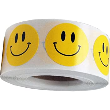 amazon com smiley face stickers yellow happy face labels for