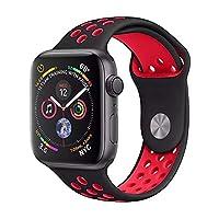 SISTEMAS GARZA Correa Deportiva Extensible Sport Banda Silicon de Uso Rudo para Apple Watch 38mm 42mm Generico iwatch Serie 1 2 3 Nike (Negro/Rojo, 42MM)