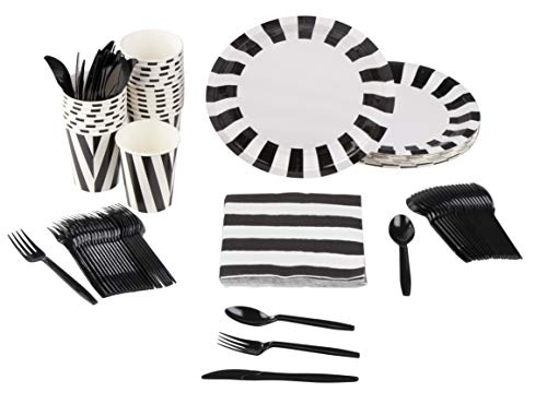 Disposable Dinnerware Set - Serves 24 - Black and White Party Supplies, Includes Plastic Knives, Spoons, Forks, Paper Plates, Napkins, Cups for Halloween Party -