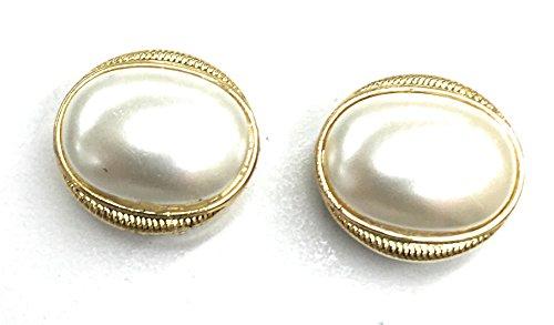 Large Button Covers Cufflink Pearl / Gold Rim Design •Button Clips -1 Pair - The Alternative to Cufflinks For Regular Shirts (Cufflinks Rims)