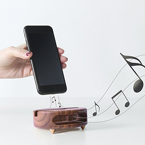 Monolith Cell Phone Stand with Sound Amplifier Phone Stand Holder Bamboo Wood Phone Dock Natural Wooden Stands suitable for iPhone X 8 7 Plus and Android Smartphones Within 5.5 Inches (Black) by Monolith