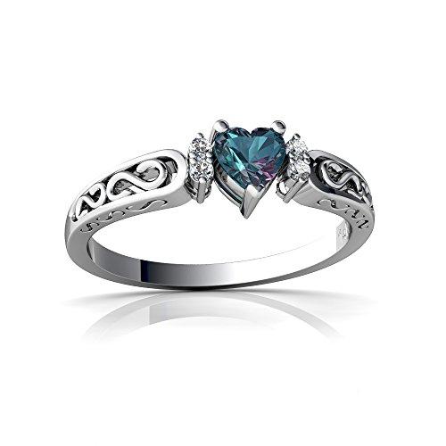 14kt White Gold Lab Alexandrite and Diamond 4mm Heart filligree Scroll Ring - Size 6 (Alexandrite 14kt Ring)