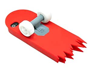 Skateboard 3D Cartoon Silicone Stand Skin Case for iPhone 4/4S/4G - Red