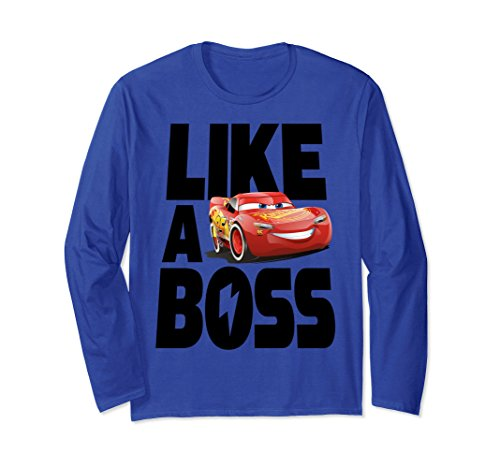 Unisex Disney Pixar Cars 3 McQueen Like A Boss Long Sleeve Tee Large Royal Blue (Disney Cars Shirts For Adults)