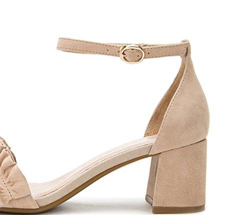 tacco basso bufalo casual Sandali DHG con 39 alla tacco alti Pantofole Tacchi basso da donna pelle a Sandali moda estivi di Sandali piatti pzwq1a7