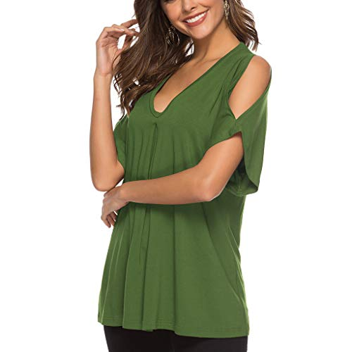 (Fashion ladies short-sleeved solid color off-shoulder pleated T-shirt girl solid color casual trumpet loose shirt wild)