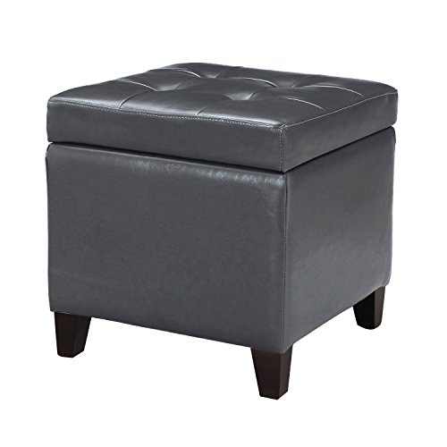Adeco FT0009-2 Bonded Leather Square Tufted Cubic Cube Storage Footstool, 18