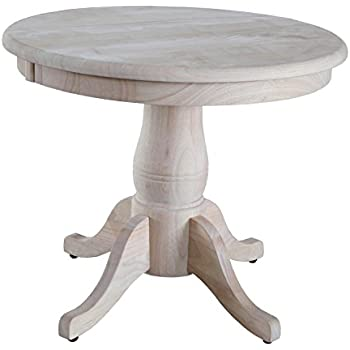 International Concepts Unfinished Round Pedestal Table, 22 Inch