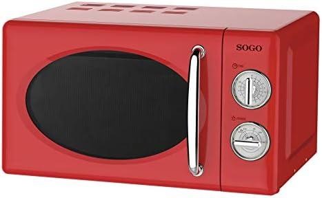 SOGO HOR-SS-890-R SS-890-R Stile retrò, Microonde Vintage con capacità, 5 potenze, Watts-Color Rosso, 700 W, 20 Litri, Alluminio