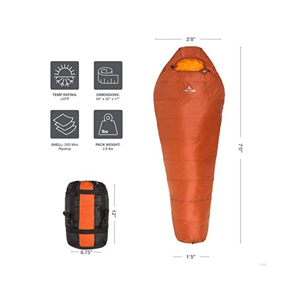 Teton Sports Altos Ultralight Mummy Sleeping Bag Perfect for Camping, Hiking, and Backpacking; Lightweight All-Season Mummy Bag; Compression Sack Included 5