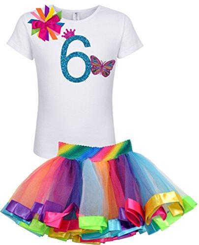 Princess Bubblegum Outfits (Bubblegum Divas Little Girls 6th Birthday Rainbow Princess Butterfly Tutu Outfit 6X)