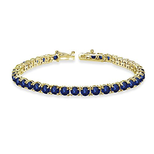- Yellow Gold Flashed Sterling Silver 4mm Created Blue Sapphire Round-cut Tennis Bracelet