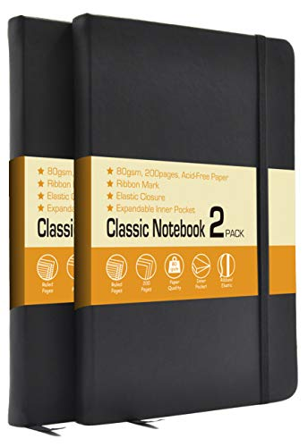 Hardcover Notebook Journals, 2 Pack 5.25