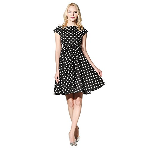 (FiftiesChic Cap Sleeves 100% Cotton Polka Dot 50s Vintage Rockabilly Swing Dress (X-Large, Black White PD) )