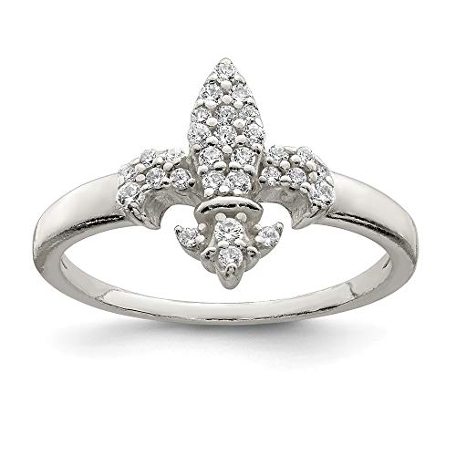 925 Sterling Silver Cubic Zirconia Cz Fleur De Lis Band Ring Size 7.00 Fine Jewelry Gifts For Women For -