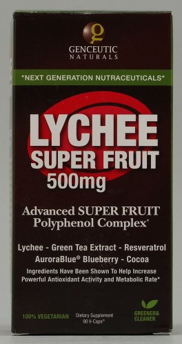 Genceutic Naturals Lychee Super Fruit Complex Herbal Supplements, 500 mg, 60 Count