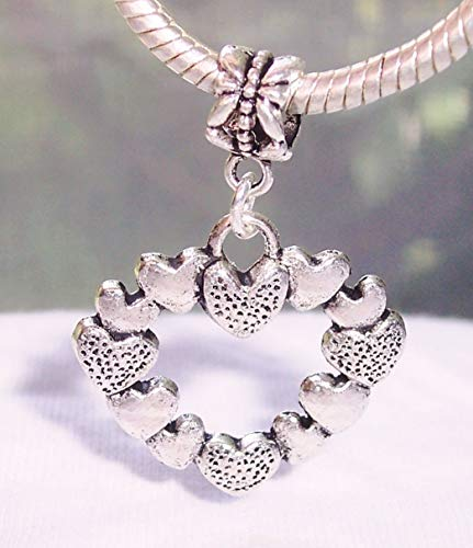 Heart Wreath Pendant Love Home Dangle Charm for European Bead Slide Bracelets Crafting Key Chain Bracelet Necklace Jewelry Accessories Pendants (Charm Heart Wreath)