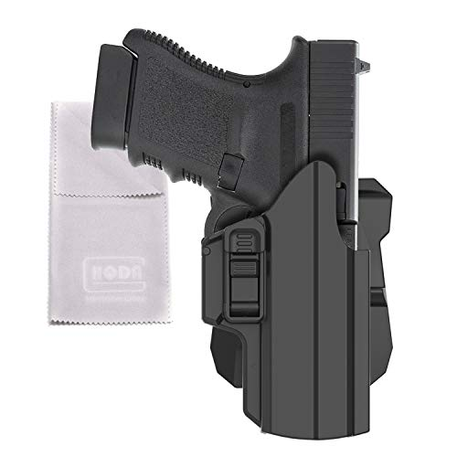 HQDA Universal OWB Holster: Fits Glock 17 19 27 33 45 Gen 1-5, Sig Sauer P320 Beretta 92fs PX4 H&K USP Springfield XD S&W M&P Full Size 9MM Pistols Handgun Holder, Tactical 360° Adjustable Draw Angle