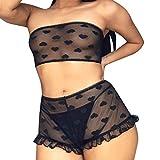 ALLYOUNG Women's Sleepwear Tube Top Strap Nightwear Lace Trim Satin Cami Top Pajama Sets Black