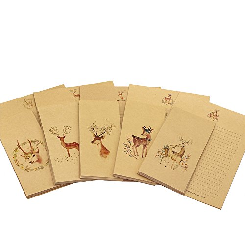 ZHU YU CHUN 50 Writing Stationery Paper with 50 Envelopes, Vintage Letter Writing Paper Sets (10 pcs each deer Pattern) by ZHU YU CHUN