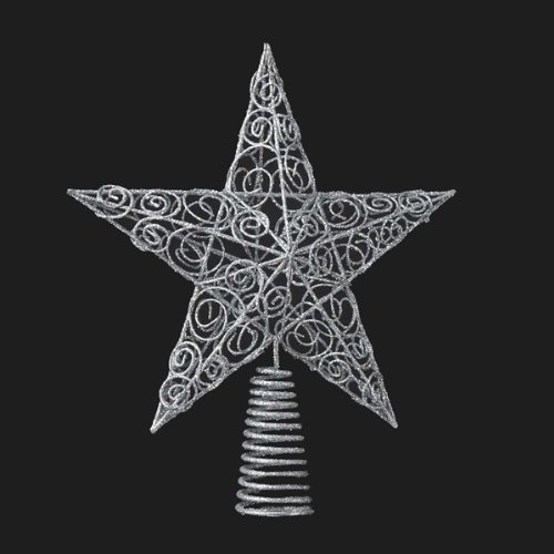 Bundle Pack of 12, Kurt Adler 10-Inch Silver Star Tree Topper by Kurt Adler