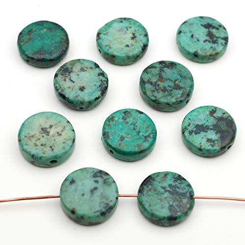 10 Pcs Flat Round Blue Green African Turquoise Jasper Beads 15mm