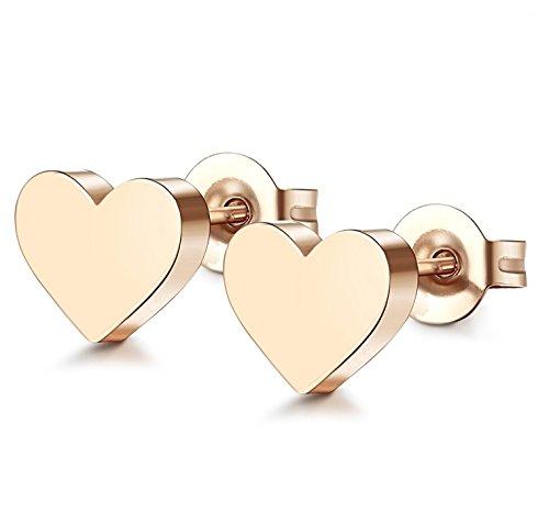 ORAZIO 1 Pair Stainless Steel Heart Stud Earrings for Women Men