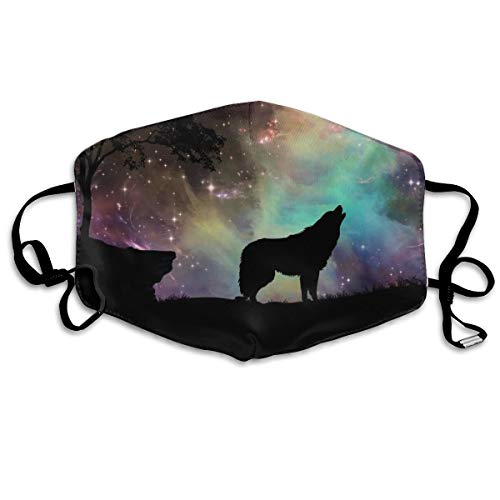YUIOP Galaxy Wolves Howling Printed Mask Neutral Mask for Men and Women Polyester Dust-Proof Breathable Mask