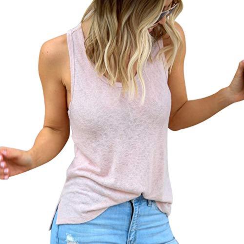 POQOQ Blouse Women Summer Round Neck Sleeveless Vest