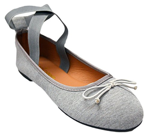 Ankle Basic Comfortable With Womens Canvas Flats Slip Jersey Strap Dress On Faux Shoes Grey Soft Elastic Ballet Vegan Leather nxwCT0qB4w