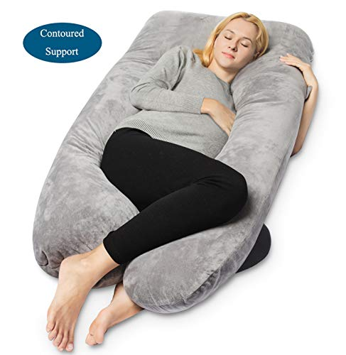 QUEEN ROSE Pregnancy Pillow - Full Body U Shaped Maternity Pillow,Support Back/Neck/Head with Velvet Cover, Gray