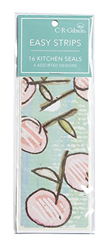 """C.R. Gibson Fruit and Floral Resealable Kitchen Tape Strips, 16pc, 2.5"""" x 5.5"""""""